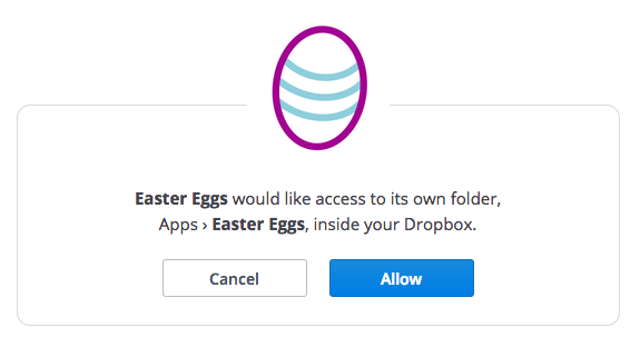 Dropbox authorize screen